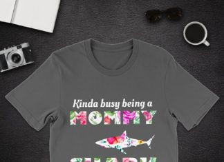 Floral Kinda busy being a Mommy Shark shirt