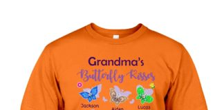 Grandma's butterfly kiss Jackson Aiden Lucas Liam Emma Isabella Olivia and Sophia T-shirt
