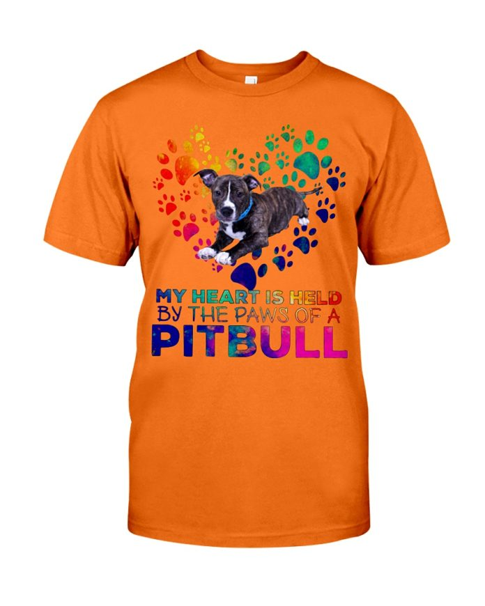 My heart is held by the paws of a pitbull shirt