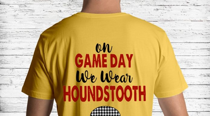 On game day we wear houndstooth shirt