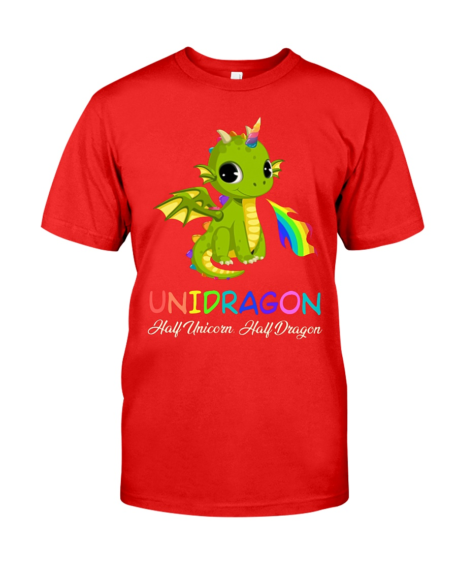 Unigragon half unicorn half dragon guy shirt