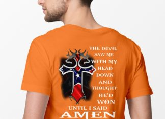American Flag Cross The devil saw me with my head down and thought he'd won until I said Amen shirt