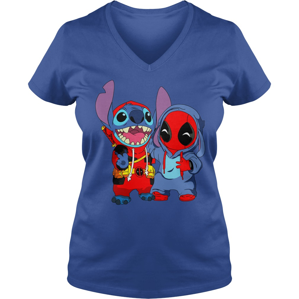 Baby deadpool and stitch shirt lady v-neck - Baby deadpool and Unicorn funny stitch shirt