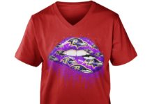 Baltimore Ravens love glitter lips shirt - love Baltimore Ravens lips shirt