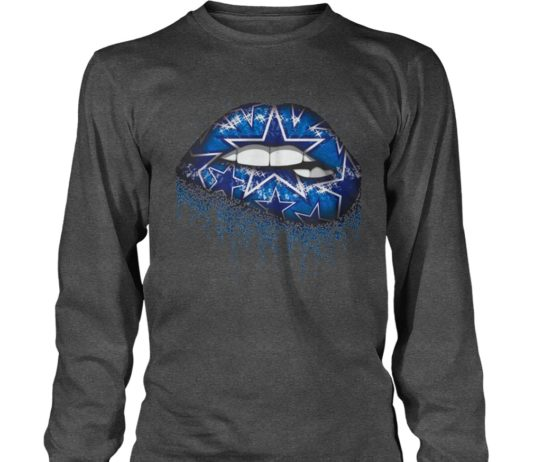 Dallas cowboys love glitter lips shirt unisex longsleeve tee