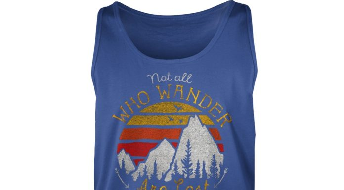 Not all who wander are lost gradient mountain gold shirt unisex tank top, Not all who wander are lost shirt
