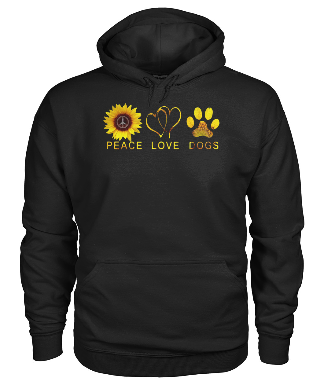 Peace love and dogs sunflower gildan hoodie