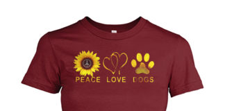 Peace love and dogs sunflower shirt