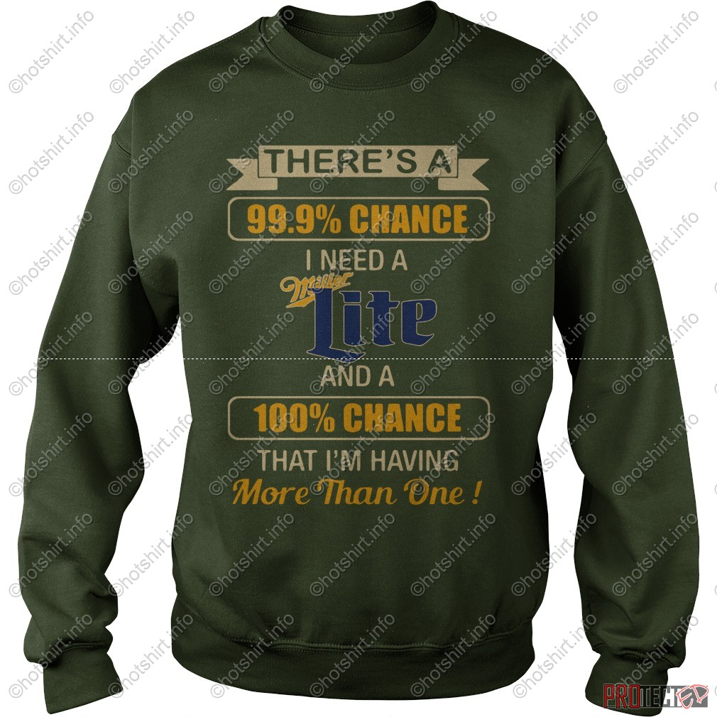 There's a 99.9% chance I need a Miller Lite and a 100% chance shirt sweat shirt