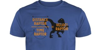 Velociraptor equals Distanceraptor over Timeraptor shirt guy tee