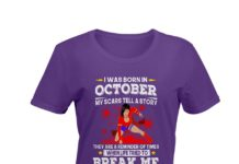 Wonder Woman I was born in October my scars tell a story shirt
