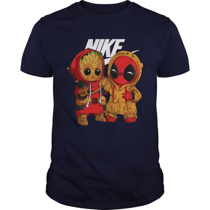 Baby Groot and Deadpool Nike shirt