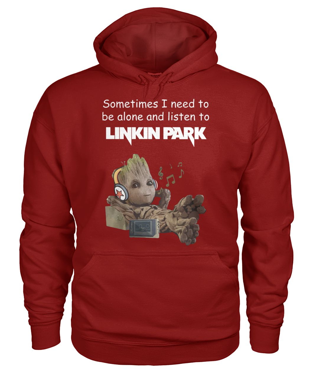 Baby Groot sometimes i need to be alone and listen to linkin park gildan hoodie