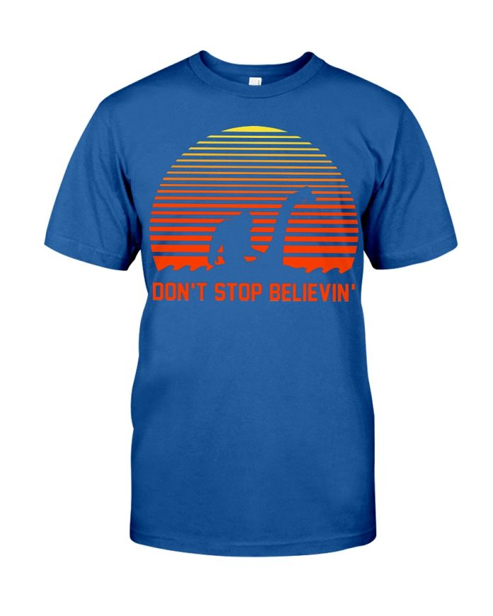 Bigfoot rides the Loch Ness Monster don't stop believing shirt