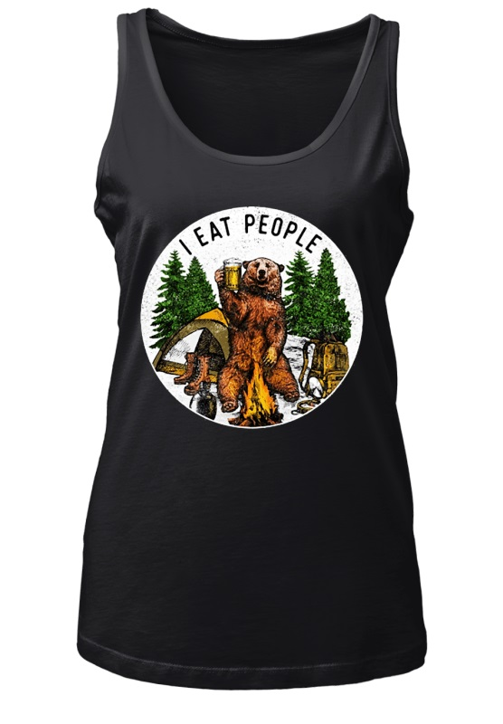 Camping bear i hate people i eat people shirt
