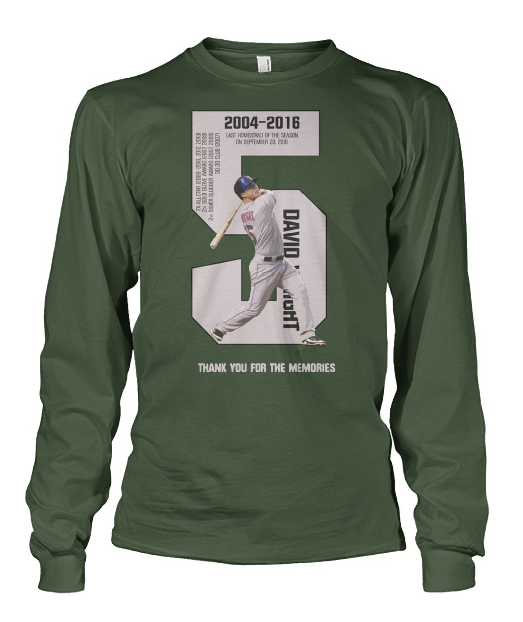 David Wright thank you for the memories 2004-2016 unisex long sleeve