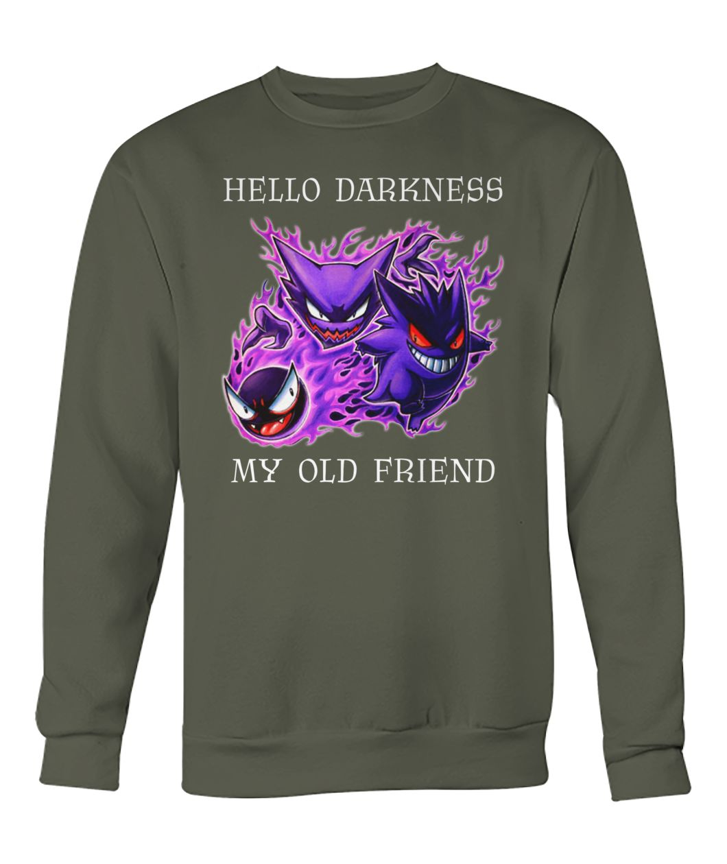 Hello darkness my old friend pokemon gengar amino crew neck sweatshirt