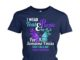 I wear teal and purple for someone I miss suicide prevention awareness butterfly women's crew tee