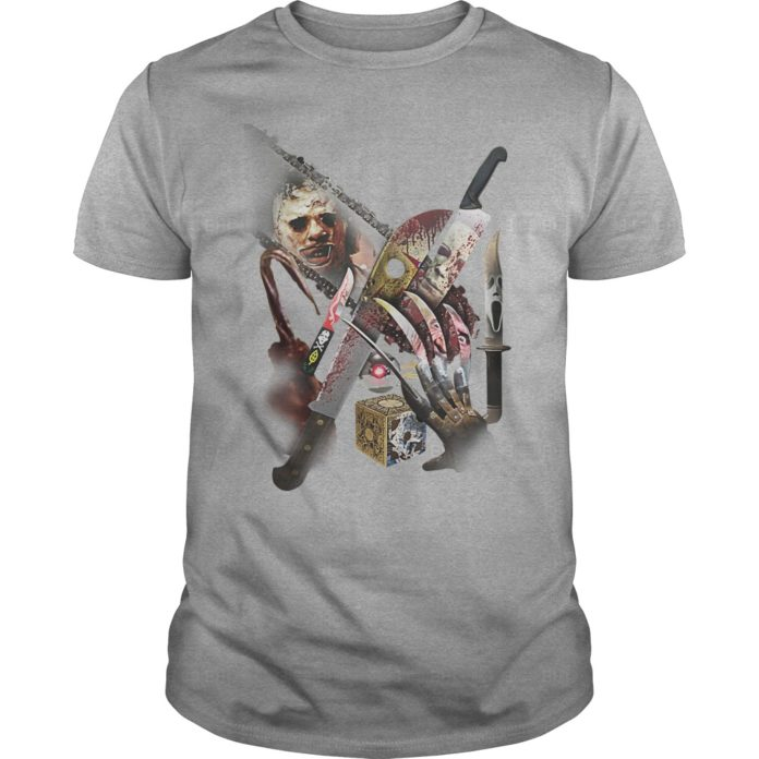 Michael Myers Freddy Krueger Jason Voorhees Chucky and Leatherface weapons shirt