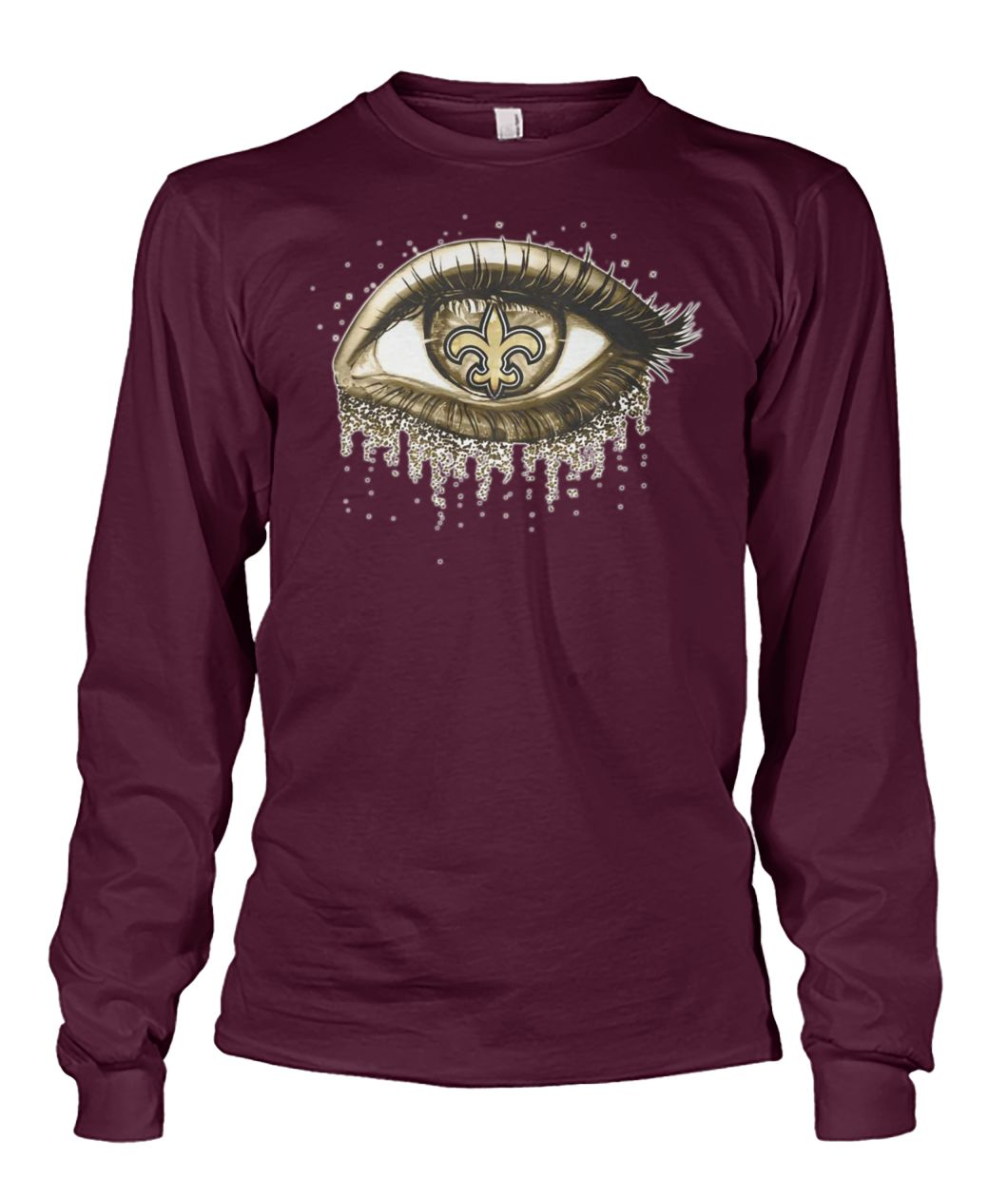 New orleans saints gold eyes glitter unisex long sleeve