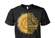 She's a sunflower strong and bold and true to herself she's sunshine mixed unisex cotton tee