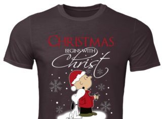 Snoopy Christmas begins with Christ shirt