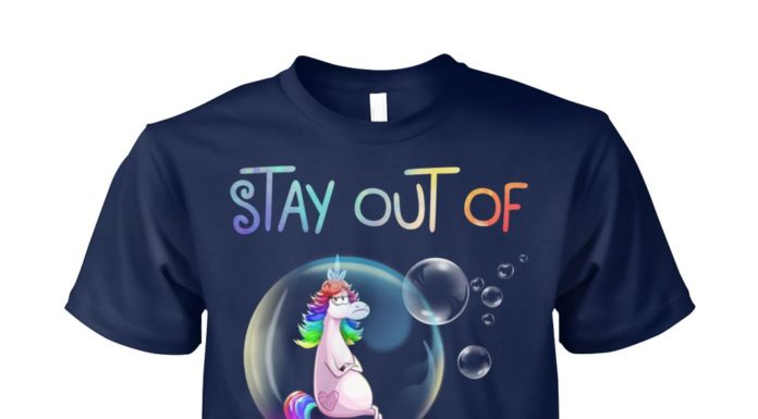 Unicorn stay out of my bubble unisex cotton tee
