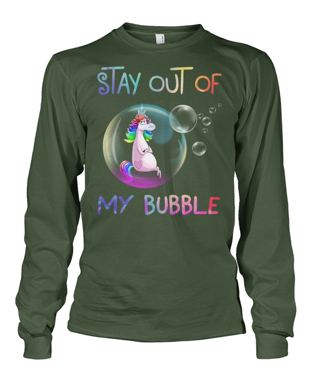 Unicorn stay out of my bubble unisex long sleeve