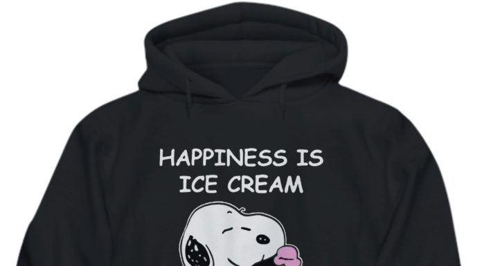 Snoopy dog happiness is ice cream