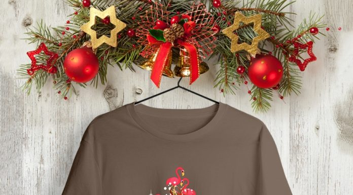 Flamingo Christmas Tree shirt