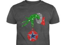 Grinch Hand Ornament Dallas Cowboys Glitter Christmas shirt