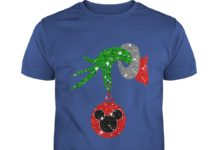 Grinch Hand Ornament Mickey Mouse Glitter Christmas shirt