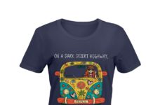 Hippie Flower Peace Bus on a dark desert highway cool wind in my hair shirt