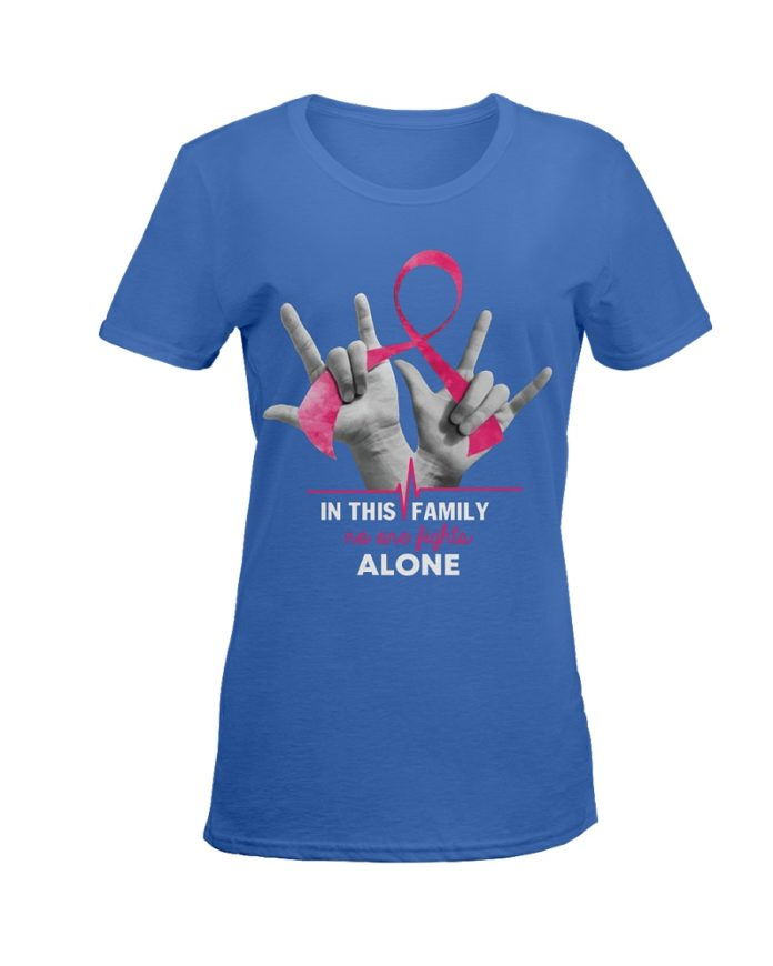 In this family no one fights alone breast cancer shirt