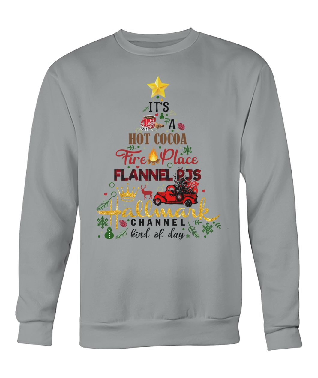 It's a hot cocoa fireplace flannel pjs Hallmark channel sweater