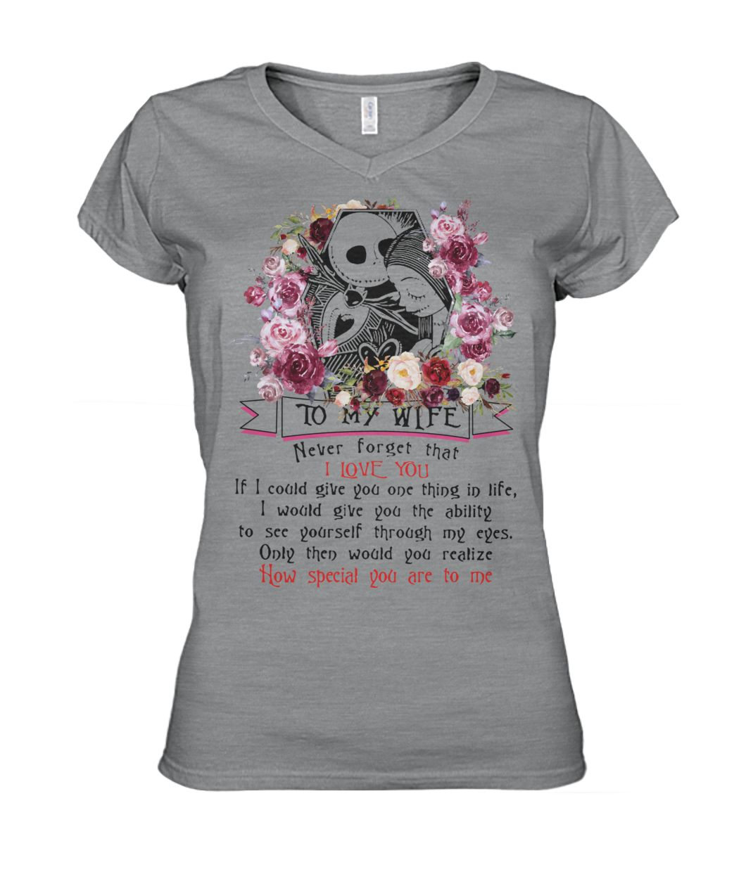 Jack skellington and sally to my wife never forget that I love you women's v-neck