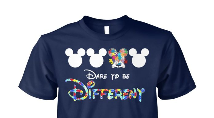 Mickey mouse autism dare to be different unisex cotton tee