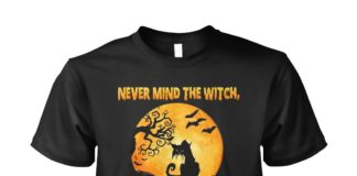 Never mind the witch beware of the cat Halloween unisex shirt