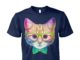 Rainbow academicat - skeptical kitten unisex cotton tee