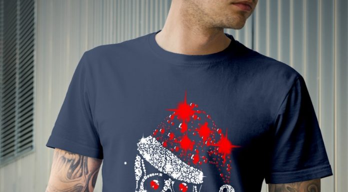 Skull illustration Christmas Glitter shirt