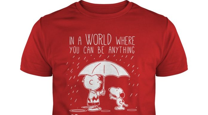 Snoopy and Charlie brown in a world where you can be anything be kind shirt