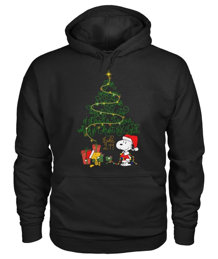 Snoopy and Woodstock for unto you is born this day hoodie