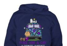Snoopy Charlie peace love & cure Alzheimer's awareness