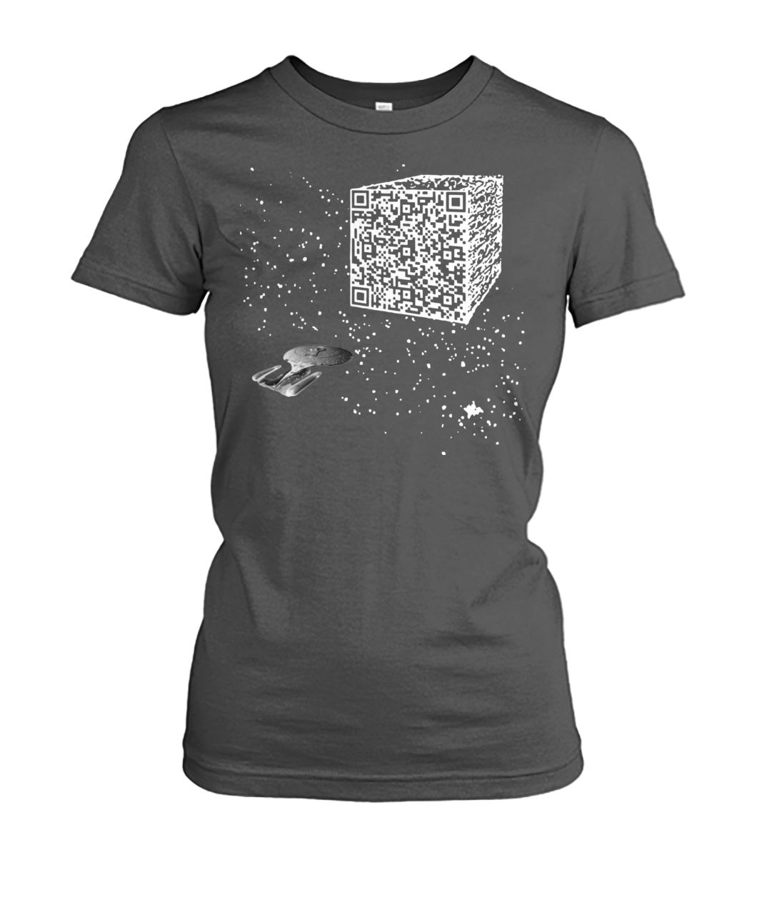 We are the borg resistance is futile space QR code women's crew tee