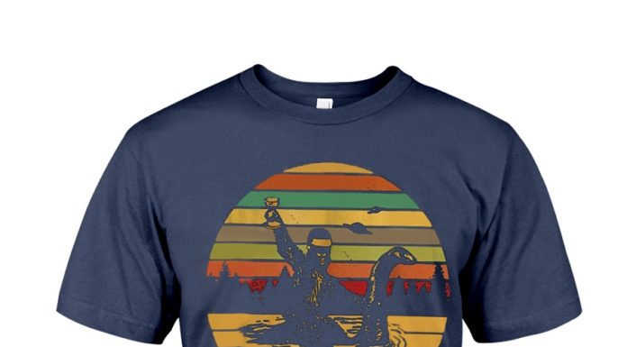 Don't stop believin' Bigfoot rides the Loch Ness monster vintage shirt