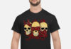 Three Wise Monkeys Drawing Calavera Skull shirt