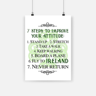 7 steps to improve your attitude fly to ireland poster