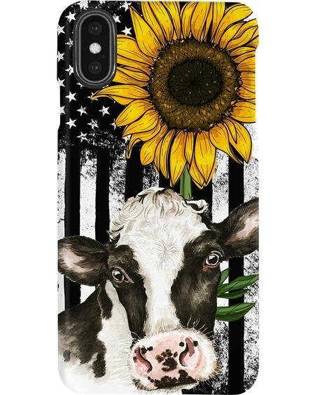 American flag sunflower cow phone case