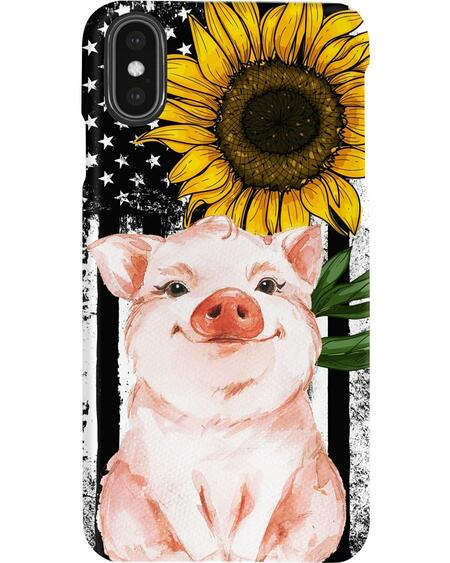 American flag sunflower pig phone case