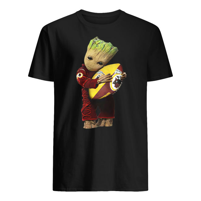 Baby groot hugging washington redskins shirt